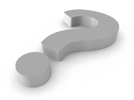 3D render of gray question mark isolated on white background.
