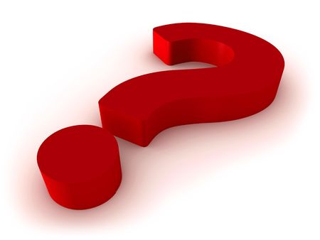 3D render of red question mark isolated on white background.