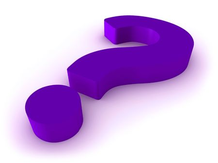 3D purple question mark isolated on white background. Stock Photo - 7696479