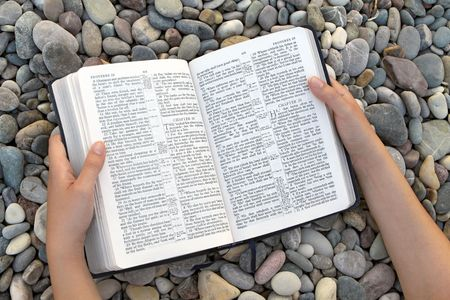 Female hands holding open Bible Stock Photo - 7744043