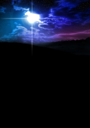 Colorful night sky with stars, vertical with plenty of copy space