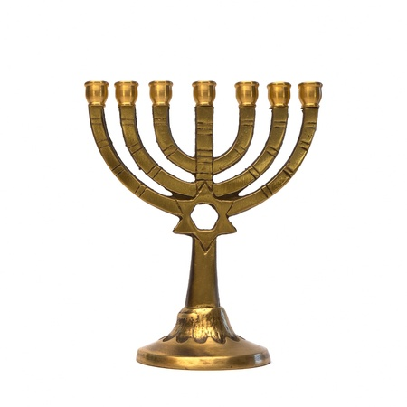 candlestick: Golden Menorah isolated on white