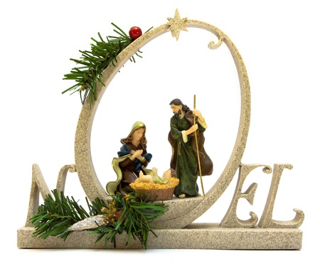 Nativity Scene isolated on white Stock Photo - 13734610