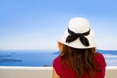 Girl gazing at the Mediterranean Sea Stock Photo - 14788361