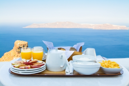 Well balanced breakfast for two by the Sea