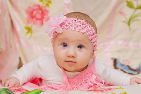 Cute Baby girl on flower blanket Stock Photo - 17966995