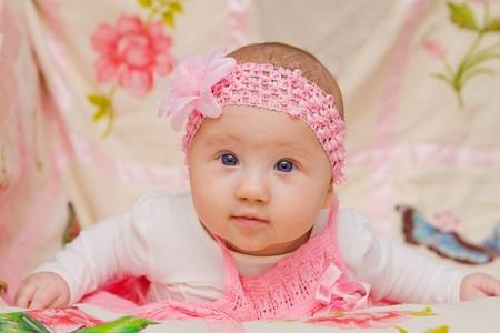 Cute Baby girl on flower blanket Stock Photo - 17966995