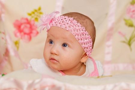 Cute Baby girl on flower blanket Stock Photo - 17966991