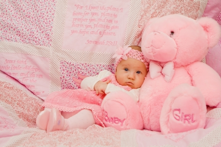 0 1 months: Baby girl on pink blanket with Bible verses