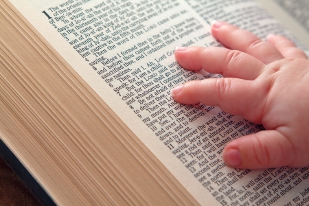 verse: Baby hand on Jeremiah Bible verse - Be not afraid Stock Photo