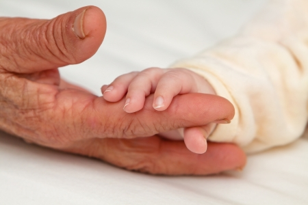 grandmother grandchild: Tiny baby hand holding aged hand of Great Grandma