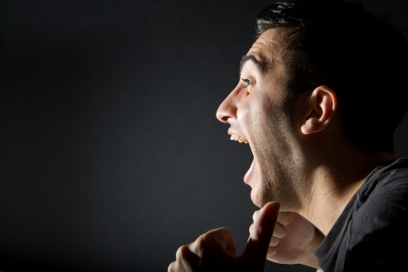 Excited man on black background Stock Photo - 19838204