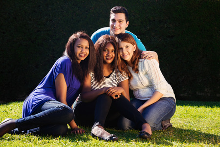 Young adult interracial group of friends   photo