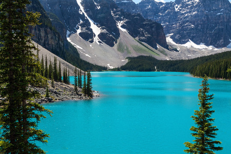 Beautiful and peaceful Moraine lake in Alberta Canada