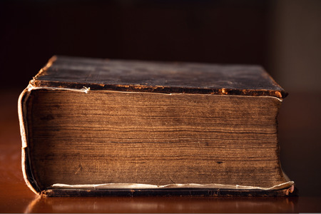 150 year old Bible pages close up
