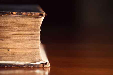 bible backgrounds: 150 year old Bible pages with copyspace  Stock Photo
