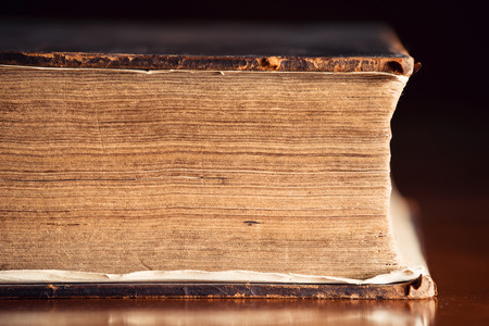 Pages Close Up of a very old Holy Bible  Stock Photo