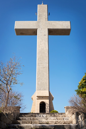 Big Cross at Mount Filerimos on the Island of Rhodes, Greece Stock Photo