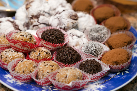 scrumptious: Decadent And Tasty Assorted Cookies and Truffles Stock Photo