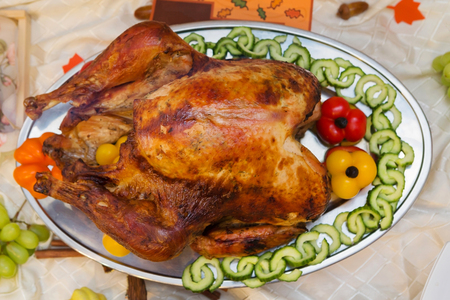 Bountiful Thanksgiving Table Full of Appetizing Food Stock Photo