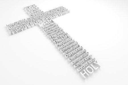 3D Cross Made Composed of The Many Biblical Names of JESUS CHRIST