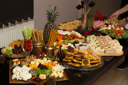 Delicious Party Finger Food With Festive Decorations Stock Photo
