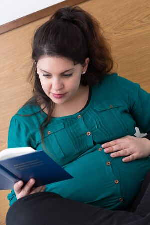 Young expectant mom reading her Bible in the morning Archivio Fotografico - 125829120