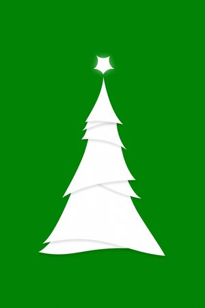 Invitation Poster Illustration of Simplistic Stylized Christmas Tree on Green
