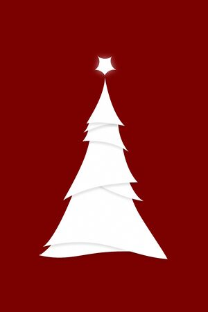 Invitation Poster Illustration of Simplistic Stylized Christmas Tree  on Red Banco de Imagens