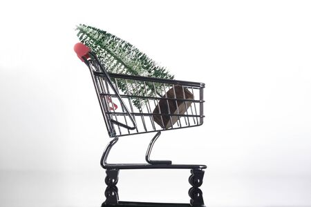 Side View of Mini Christmas Tree Inside Tiny Shopping Trolley on Light Background