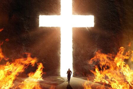 Person running from fire to safety of the Cross cut into a giant mountain