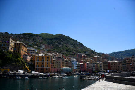 Cityscape of the small fishing village and tourist resort Camogli, located on the west side of the peninsula of Portofino in Italy Stock Photo