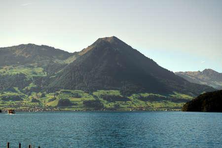 Peaks of Mount Pilatus with Lake Lucerne Standard-Bild