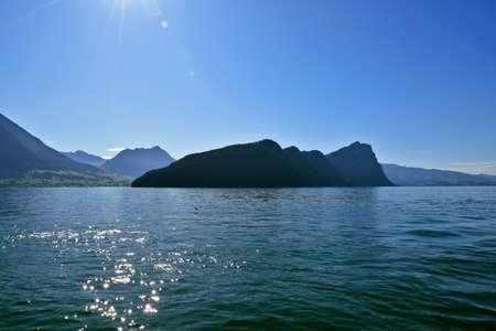 Landscape view of lakeside peak Burgenstock