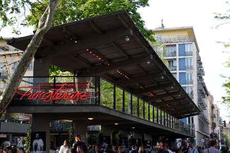 Budapest, Hungary 04.24.2019: The famous open air wine bar, hungarian name: Fröccsterasz at Erzsebet Square in Budapest Stock Photo