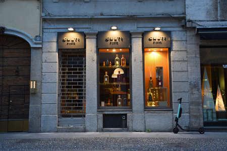 Milán, Italia, 08.04.2019: Escaparate, entrada de CULTI House, es la oportunidad para que una persona elija su propia fragancia, que la acompañará en sus hogares y en su vida. Foto de archivo