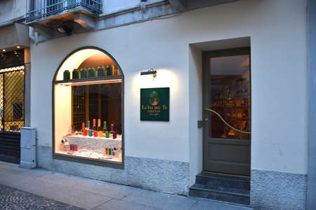 Milan, Italy, 08.04.2019: Storefront and entrance of the La Via del Tè Tea shop in the Brera Art District which is a romantic, artists' neighborhood and a place of bohemian atmosphere Stock Photo