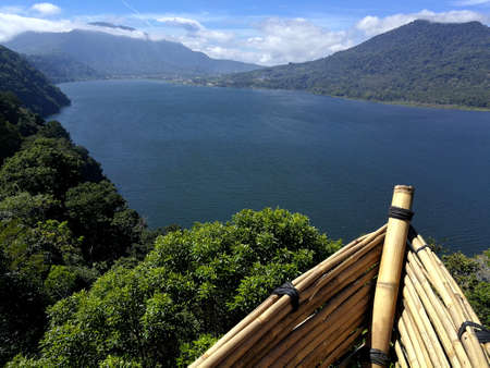 Panoramic landscape view from a bamboo boat from Wanagiri Hidden Hills in Bali Foto de archivo