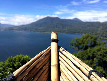 Panoramic landscape view from a bamboo boat from Wanagiri Hidden Hills in Bali Stok Fotoğraf