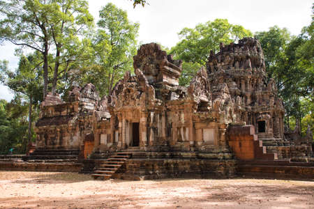 Phimeanakas Temple site among the ancient ruins of Angkor Wat Hindu temple complex in Siem Reap, Cambodia. The largest religious monument in the world.