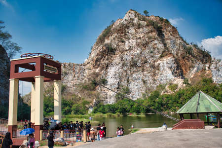Ratchaburi, Thailand 12.22.2019: Khao Ngu Rock Park, the name Khao Ngu means hills of snakes. Locals believe the area was home to serpents but nowadays is a touristic spot for day-trippers