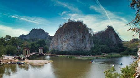Khao Ngu Rock Park, the name Khao Ngu means hills of snakes. Locals believe the area was home to serpents but nowadays is a touristic spot for day-trippers
