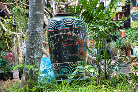Amazing stunning beautiful colorful ceramic products with many different shapes in the garden of the Tao Hong Tai Ceramics Factory in Ratchaburi, Thailand