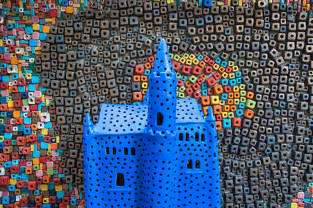 Ceramic castle with amazing beautiful ceramic patterns, motifs rich in wonderful colors and shapes in the garden of the Tao Hong Tai Ceramics Factory in Ratchaburi, Thailand
