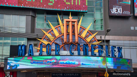 Bangkok, Thailand 04.12.2020: Entrance and faced of the Major Cineplex at Ratchayothin