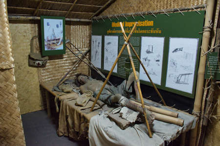 Kanchanaburi, Thailand 12.28.2019: Interior of Thailand–Burma Railway Centre, it is a museum and research centre about the history of the Thailand–Burma Railway