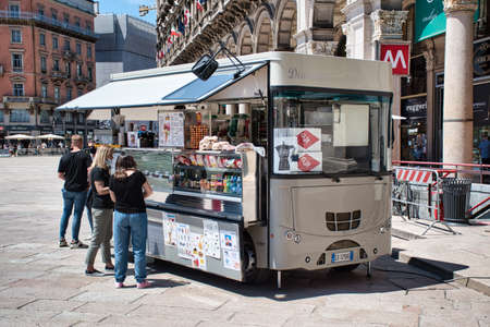 Milan, Italy 06.20.2020: Foodtruck on Duomo Square selling food and refreshments