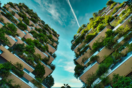 Milan, Italy, 06.29.2020: Vertical Forest (Bosco Verticale) Innovative Green House Skyscraper representing commitment to sustainable economy designed by Boeri Studio