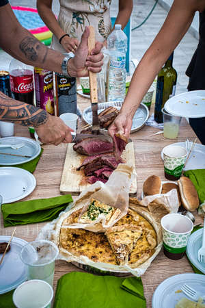 Milan, Italy, September 19, 2020: Grilled traditional Brazilian Picanha, it is a cut of beef that is popular and is widely consumed throughout Brazil