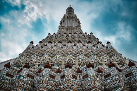Bangkok, Thailand 08.20.2019 Temple of Dawn, Wat Arun is a buddhist temple and derives its name from the Hindu god Aruna often personified as the radiations of the rising sun